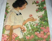 Lady Picking Pink Climbing Cabbage Roses Titled Springtime Vintage Original 1930s Lithograph Print Home Decor Art Picture
