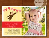 Curious George Birthday Party Invitation Digital Printable 5x7 Photo Card ( Red, Yellow )