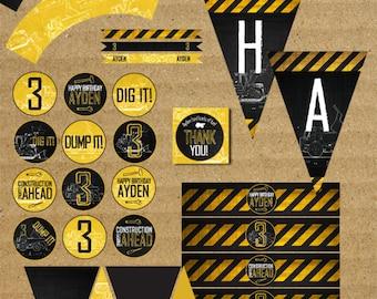 Construction Custom Printable Birthday Party Package Kit with Dump Trucks Bulldozers ( Yellow, White, Black )