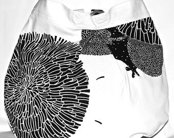 Cotton shopping bag - white printed cotton
