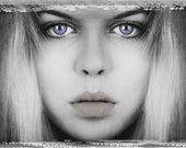 "ART GRAFTS - 'Blue Eyes' - Limited Edition Crystal Archive Print Portrait Teenage Girl 18"" x 12"""
