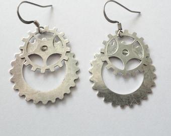 Steampunk  Earrings Silver Gears