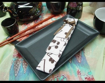 Beige and Brown Music Note Flannel Chopstick case With a Ribbon Tie Closure