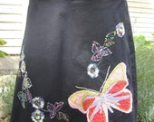 Repurposed Upcycled Skirt-turned-apron - Black with pink ties, sequin appliques Half Apron