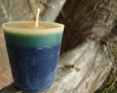 ANTIQUE SANDALWOOD CANDLE, Blue and Green Eco Friendly Holiday Gift, Stocking Stuffer, Container Candle, Home Decor, Unique Gift Idea