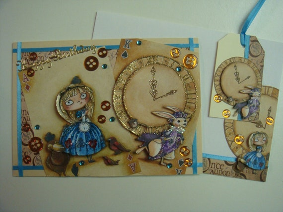 """Fantastic 3D """"Alice in Wonderland Playing Cards""""  Birthday Handmade Card by Christine with matching envelope & gift tag"""