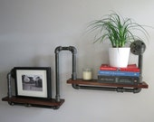 wood & pipe Urban Hand Made Two Level Book Shelf