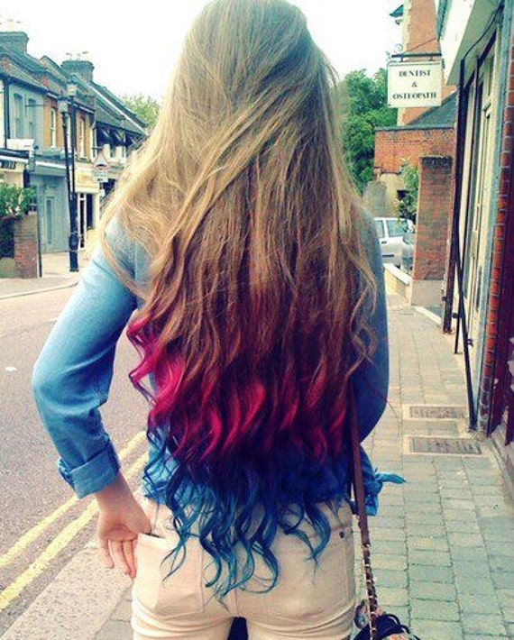 JEWELED GALAXY Human Hair Extensions 14 Inch Clip In Hair Rainbow Ombre Dip Dye READY to Send