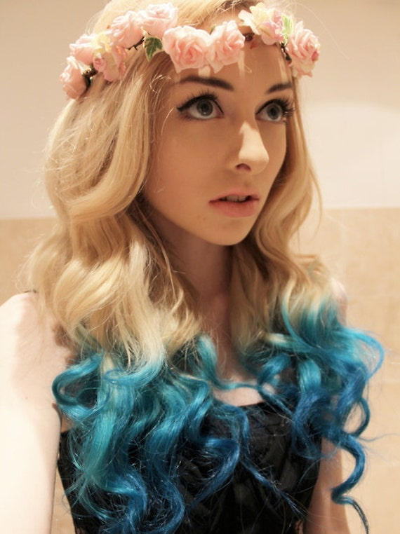 TURQUOISE Teal Human Hair Extensions 14 Inch Clip In Hair Rainbow Color Ombre Dip Dye Tie Dye  READY to SEND