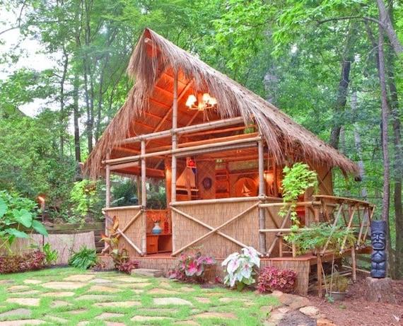 Tiki Backyard Ideas :  similar to DIY PLANS Tiki Hut Bamboo bungalow with Tiki bar on Etsy