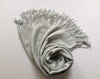 LIGHT GRAY PASHMINA, light gray shawl, pashmina shawl, pashmina scarf, scarf, shawl, scarves