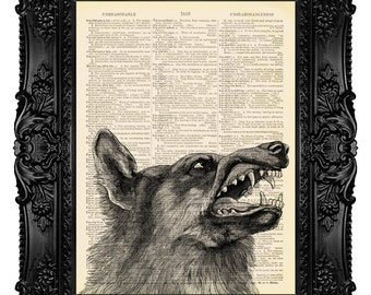 Big Bad Wolf, Red Riding Hood - Dictionary Art Print Vintage Upcycled Antique Book Page no.154