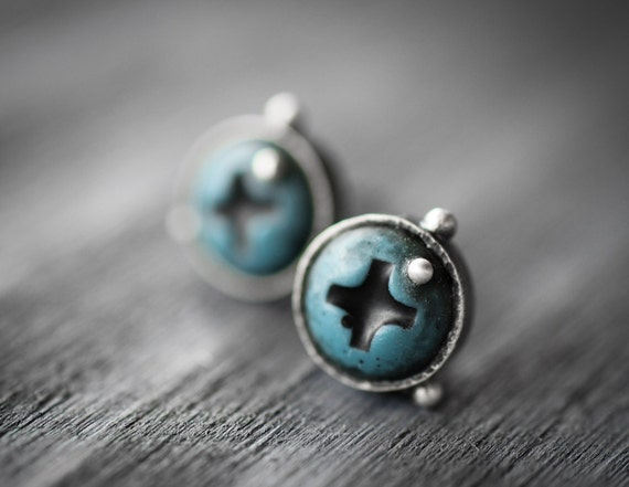 turquoise stud earrings - silver with teal blue screws - industrial jewelry