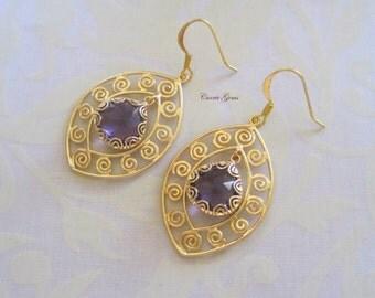 Amethyst Purple Earrings, Bridesmaid Gifts