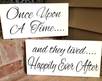 WEDDING SIGNS, Once Upon A Time, Happily Ever After, wedding signage, Wood sign, Fairy Tail, photo props, single sided, double sided, 8x16