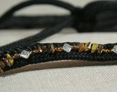 Horse Rope Halter-- Tiger-eye and Silver Diamond Beaded