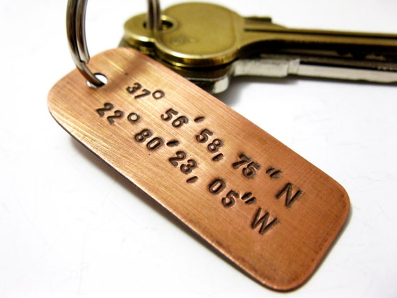 Personalized Copper Latitude Longitude Keychain Handstamped Message Name Date Initials Coordinates Men Boyfriend Groomsmen Wedding gift
