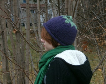 Handknit Eggplant Hat