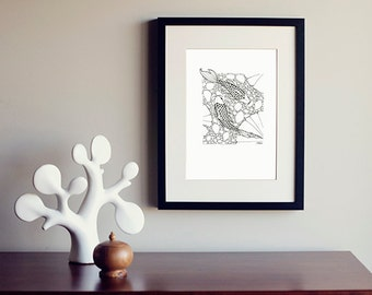 Two Little Fish - Detailed Black and White PRINT