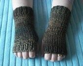 Hand knitted green wrist warmers