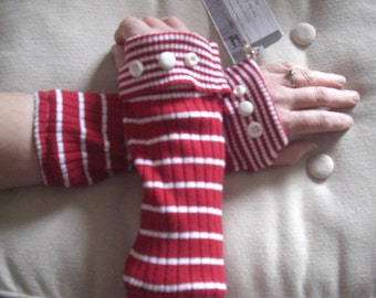 Upcycled, Recycled, Repurposed, Refashioned Arm Warmers Fingerless Gloves Red/white strip for winter
