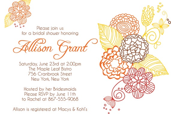 "BRIDAL SHOWER Brown & Orange FALL Themed Invitation size  4""x6"" or 5""x7"" --complete digital file--"