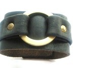 black leather cuff with round golden plated brass for men and women gifts for her gifts for him holiday gifts