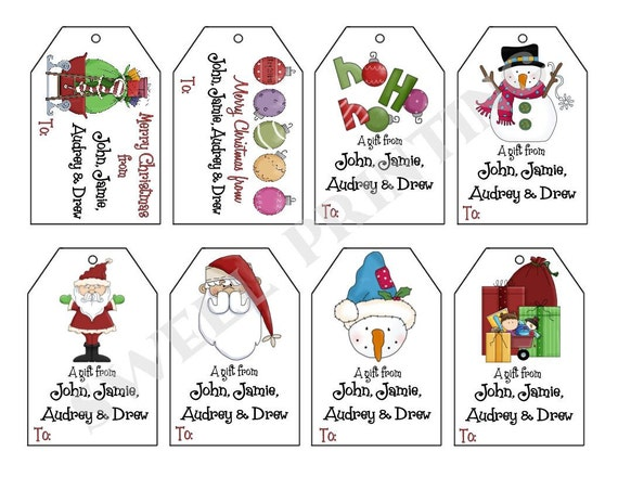 ... gift tag set, Santa, Snowman, Personalized gift tags by Swell Printing