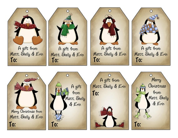 Christmas Tags: Printable Personalized Winter Penguins Christmas Gift Tag Set
