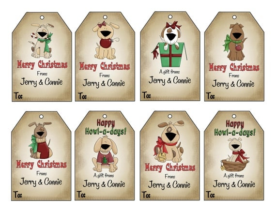 16 Printed Personalized Christmas Doggie Gift Tags