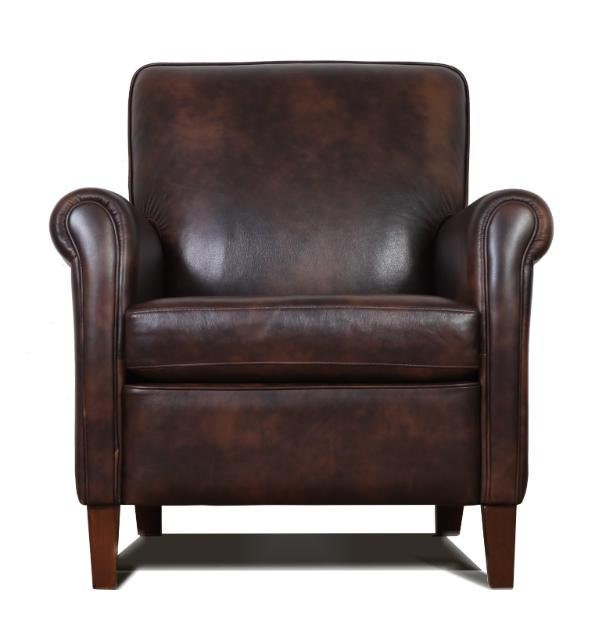 Genuine High End Leather Accent Chair Club Chair Cigar
