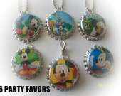 6 MICKEYS CLUB HOUSE  birthday party favors bottlecap necklaces or keychains