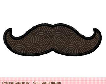 Mustache Machine Embroidery Applique Design - for 4x4 5x7 6x10 hoop