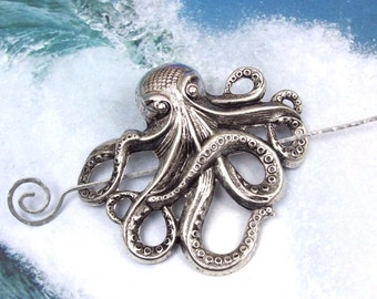 Silver Octopus Shawl Pin, Octopus Scarf Pin, Silver Shawl Pin, oxidized, silver filled, spring fashion, goth, ocean