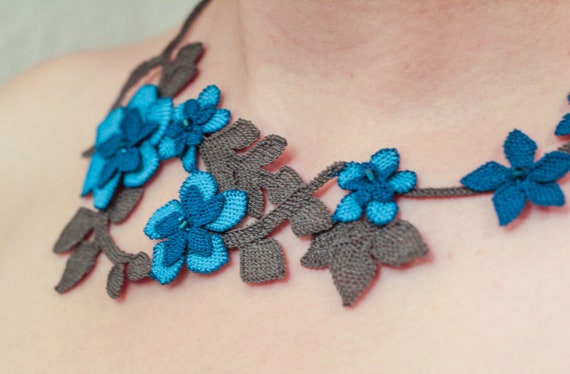 Unique Handmade Silk Needle Lace Necklace Blue Flowers Turkish Oya Anatolian