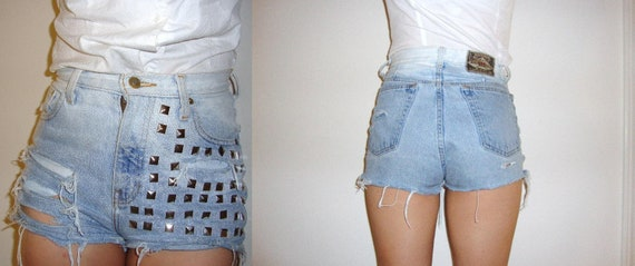 Distressed, silver studded, light wash, high waisted shorts size 26 / 27