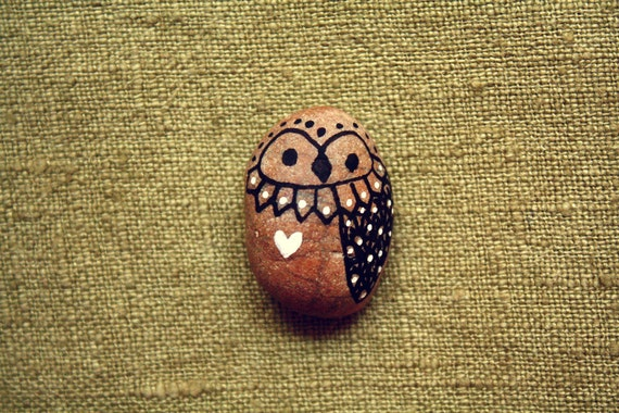 Hand Painted Rock Owl