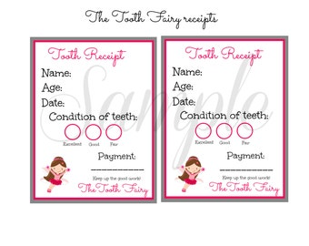 INSTANT Download The TOOTH FAIRY Receipt Card / Note  - Printable 2 Images