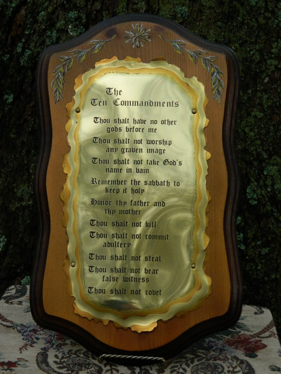 The Ten Commandments Vintage Wooden Wall Plaque W Brass Metal