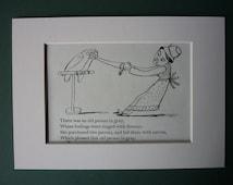 Vintage Edward Lear Original Print - Victorian Nonsense - Parrots - Carrot - Rhyme - Old Lady - 1950 - Poetry - Poem - Bird - Limerick