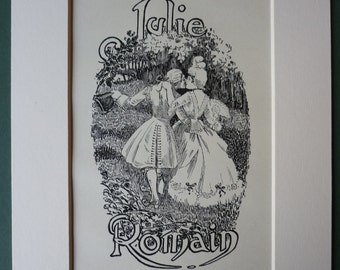Vintage 1890s Guy De Maupassant Original Print - Julie Romain - Romance - French - France - Victorian - Matted - Mounted - Love - Amore