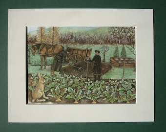 """Modern Farming & Hare Print - 9"""" x 7"""" - Countryside - Growing - Country - Sowing Seeds - Garden - Gardening - Matted - Ready To Frame"""