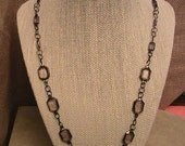 "Gray clouded and Antiqued Silver (color) necklace with 22"" chain"