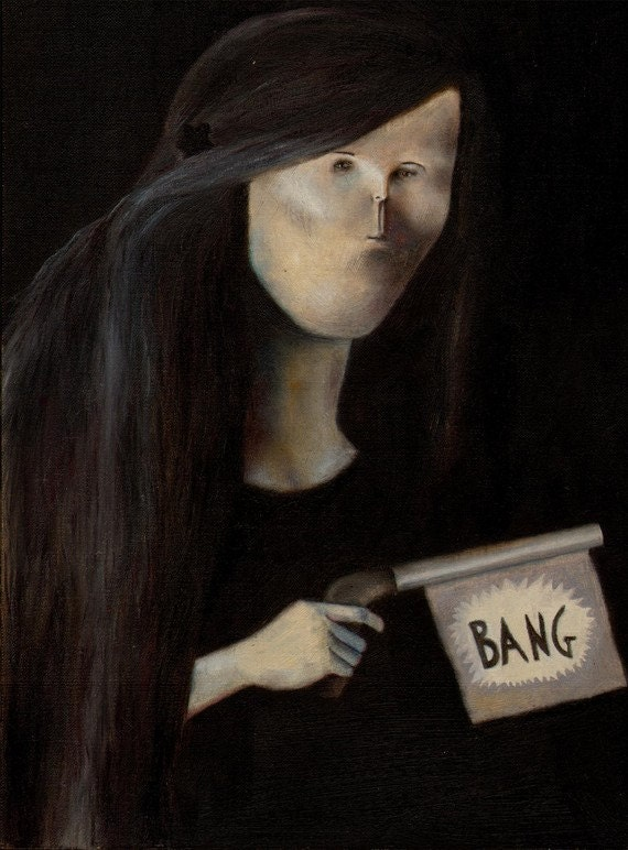 "Pop Surreal Portrait -Peculiar Portrait ""Bang""- Original Oil Painting"