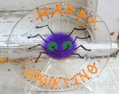 Happy haunting hand painted glass spider plate