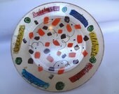 Celebrate Confetti plate, hand painted glass