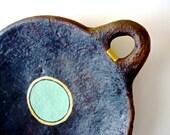 Minimalist Tribal Plate. Green and Bronze Circle. Hostess Gift Idea. Contemporary Decorative Plate. Guatajiagua Ceramic . Modern Home Decor.