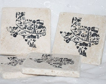 Texas Coaster Tiles - TEXAS EVERYTHING - SET of 4 Travertine Tumbled Tile Coasters - Home Decor - Texan Decorative Tile