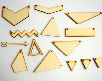 Laser Cut Geometric Pendants, Unfinished Wood Geometric Tile for Jewelry,Geometric Jewelry,Wood Pendants 4mm,
