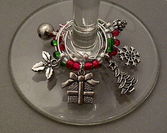 Winter Wonderland Wine Charm Set of 6 - Christmas Wine Charms with Red and Green Beads